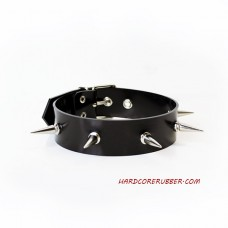 Black heavy rubber choker with spikes model.13
