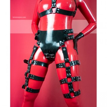 Heavy rubber panties with buckles and harness on thighs KELLY - model.09